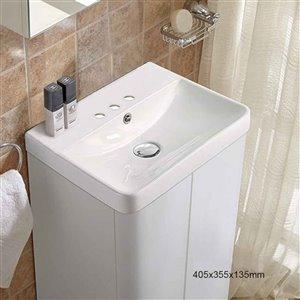 American Imaginations Vessel Bathroom Sink - Rectangular Shape - 15.82-in - White