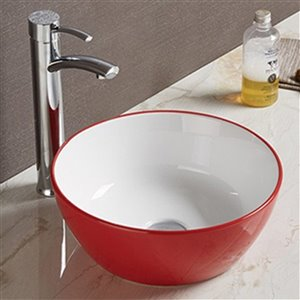American Imaginations Vessel Bathroom Sink - Round Shape - 14.09-in x 14.09-in - Red/White