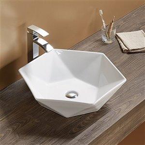 American Imaginations Vessel Bathroom Sink - Round Shape - 18.43-in x 18.43-in - White