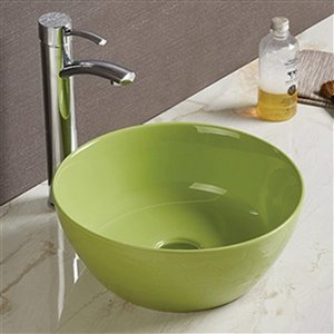 American Imaginations Vessel Bathroom Sink - Round Shape - 14.09-in x 14.09-in - Green