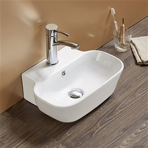 American Imaginations Wall-Mount Bathroom Sink with Overflow Drain - 16.34-in x 12.2-in - White