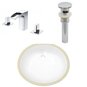 American Imaginations Undermount Bathroom Sink - 18.25-in x 15.25-in - White