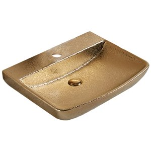 American Imaginations Vessel Bathroom Sink - Rectangular Shape - 23.62-in x 18.7-in - Gold