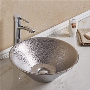 American Imaginations Round Vessel Bathroom Sink - 16.34-in - Silver