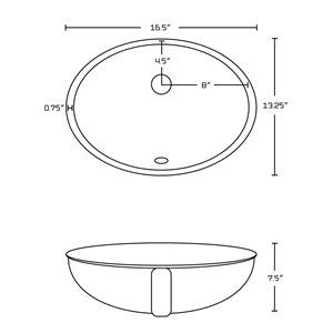 American Imaginations Undermount Bathroom Sink with Overflow Drain - 16.5-in x 13.25-in - White
