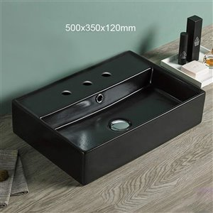 American Imaginations Vessel Bathroom Sink - Rectangular Shape - 19.7-in x 13.8-in - Black