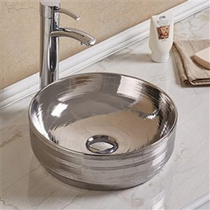 American Imaginations Vessel Bathroom Sink - Round Shape - 13.89-in x 13.89-in - Silver