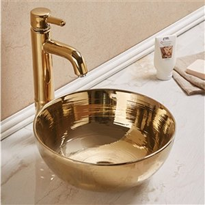 American Imaginations Vessel Bathroom Sink - 14.09-in x 14.09-in - Gold