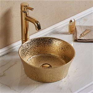 American Imaginations Round Vessel Bathroom Sink without Overflow - 14.09-in - Gold