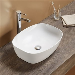 American Imaginations Vessel Bathroom Sink - Rectangular Shape - 19.9-in x 15.16-in - White