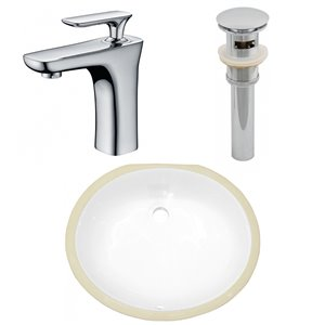 American Imaginations Oval Undermount Bathroom Sink with Overflow Drain - 18.25-in x 15.25-in - White