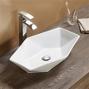 American Imaginations Vessel Bathroom Sink - Oval Shape - 22.24-in - White