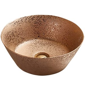 American Imaginations Vessel Bathroom Sink - Round Shape - 15.9-in - Bronze