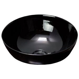 American Imaginations Vessel Bathroom Sink - Round Shape - 14.09-in x 14.09-in x 14.09-in - Black