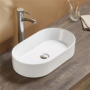 American Imaginations Vessel Bathroom Sink - Oval Shape - 20.67-in x 11.81-in - White