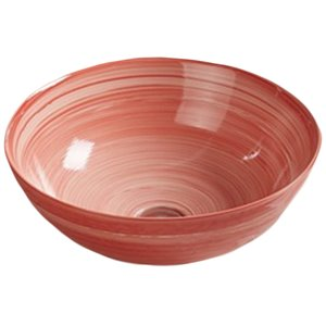 American Imaginations Vessel Bathroom Sink - Round Shape - 16.34-in - Red