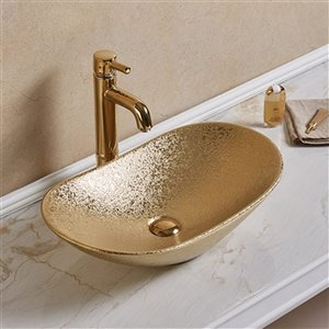 American Imaginations Vessel Bathroom Sink - Oval Shape - 24.21-in x 14.17-in - Gold