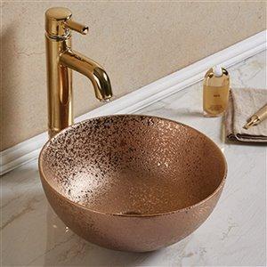American Imaginations Vessel Bathroom Sink - Round Shape - 14.09-in - Bronze