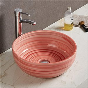 American Imaginations Vessel Bathroom Sink - Round Shape - 16.14-in - Red