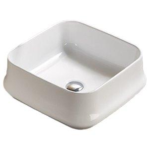 American Imaginations Vessel Bathroom Sink - Square Shape - 16.93-in x 16.93-in - White