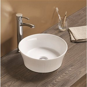 American Imaginations Vessel Bathroom Sink - Round Shape - 14.09-in - White