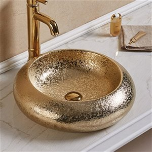 American Imaginations Vessel Bathroom Sink - Round Shape - 19.3-in x 19.3-in - Gold