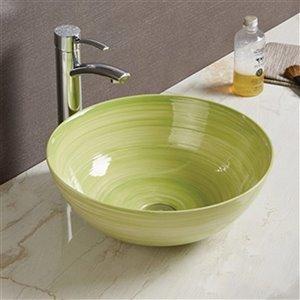 American Imaginations Vessel Bathroom Sink - Round Shape - 14.09-in - Green