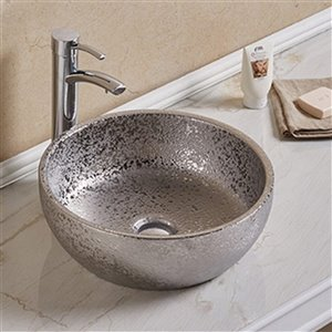 American Imaginations Vessel Bathroom Sink - Round Shape - 16.14-in x 16.14-in - Silver