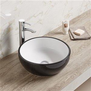 American Imaginations Vessel Bathroom Sink - Round Shape - 16.14-in x 16.14-in - Black