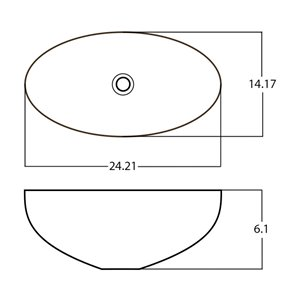 American Imaginations Vessel Bathroom Sink - Oval Shape - 24.21-in x 14.17-in - Silver