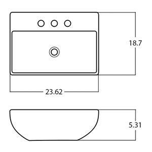 American Imaginations Vessel Bathroom Sink - Rectangular Shape - 23.62-in - Silver
