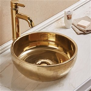American Imaginations Round Vessel Bathroom Sink - 16.14-in x 16.14-in - Gold