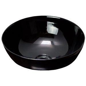 American Imaginations Round Vessel Bathroom Sink - 16.14-in x 16.14-in - Black