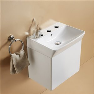 American Imaginations Vessel Bathroom Sink with Overflow Drain - 23.81-in x 13.97-in - White