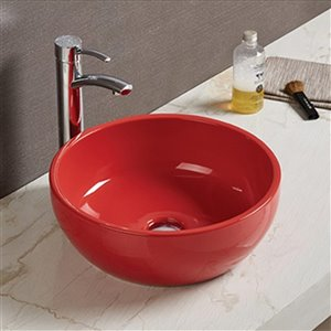 American Imaginations Round Vessel Bathroom Sink - 16.14-in x 16.14-in - Red