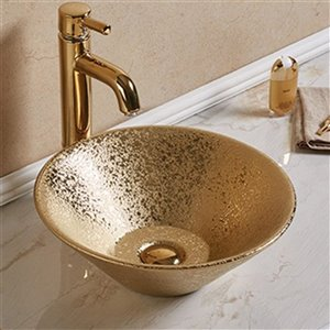 American Imaginations Vessel Bathroom Sink - 16.14-in x 16.14-in - Gold