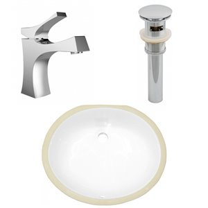 American Imaginations Oval Undermount Bathroom Sink - Integrated Overflow - 18.25-in x 15.25-in - White