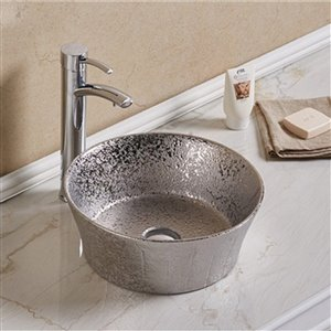 American Imaginations Round Vessel Bathroom Sink without Overflow - 14.09-in x 14.09-in - Silver