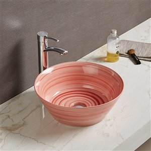 American Imaginations Vessel Bathroom Sink - Round Shape - 15.94-in - Red