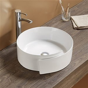 American Imaginations Vessel Bathroom Sink - Round Shape - 17.32-in x 17.32-in - White