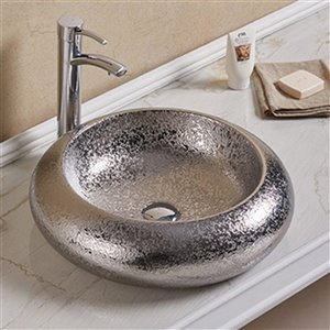 American Imaginations Vessel Bathroom Sink - Round Shape - 19.3-in x 19.3-in - Silver