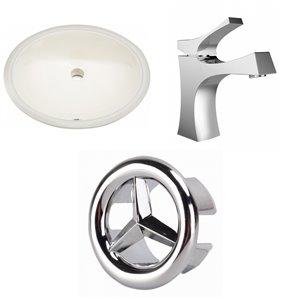 American Imaginations Undermount Bathroom Sink - Oval Shape - 19.75-in - Beige