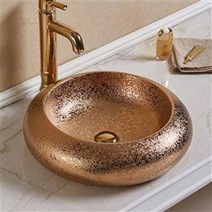 American Imaginations Vessel Bathroom Sink - Round Shape - 19.3-in - Bronze