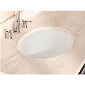 American Imaginations Undermount Bathroom Sink - Oval Shape - 19.75-in x 15.75-in - Beige