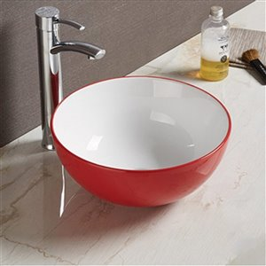 American Imaginations Vessel Bathroom Sink - 14.09-in x 14.09-in - Red/White