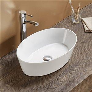 American Imaginations Vessel Bathroom Sink - Oval Shape - 20.67-in x 13.39-in - White