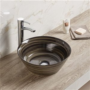 American Imaginations Vessel Bathroom Sink - Round Shape - 15.94-in x 15.94-in - Black
