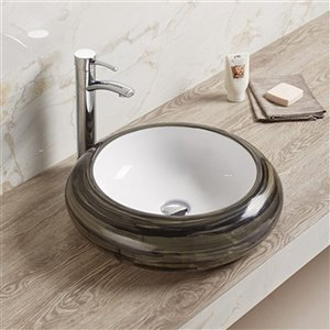 American Imaginations Vessel Bathroom Sink - Round Shape - 19.3-in x 19.3-in - Brown/White