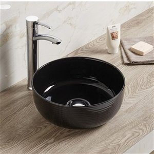 American Imaginations Round Bathroom Sink - 14.09-in x 14.09-in - Black
