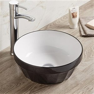 American Imaginations Bathroom Sink without Overflow Drain - 14.09-in - Black